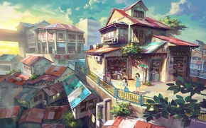 Picture city, sunset, scenic, seifuku, atmospheric, schoolgirls, Shop by FeiGiap, Chong Fei Giap