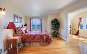 Picture room, the ocean, view, bed, plants, pillow, blanket, bedroom
