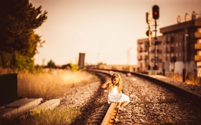 Wallpaper the city, girl, railroad