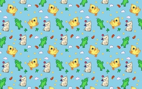 Wallpaper background, mood, texture, cactus, art, kitty, chicken, children's