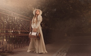 Picture girl, trees, retro, the fence, hat, dress, beautiful, the sidewalk, bag