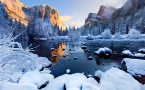 Picture winter, forest, snow, sunset, mountains, fog, river, ice, Landscapes, Yosemite National Park