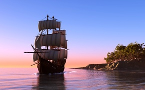 Picture sea, photo, ship, sailboat, 3D graphics