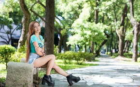 Picture summer, girl, bench, face, hair, shorts, jeans, shoes, Asian
