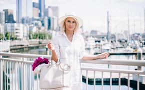 Picture summer, girl, the city, blonde, hat