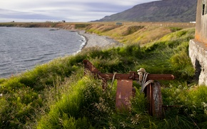 Picture sea, grass, shore, rope, Iceland, building, a piece of iron