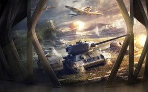 Wallpaper World Of Warship, World of Warplanes, T-34-85, World of Tanks, Tanks, Game, Aircraft, Ships