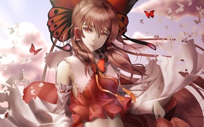 Picture look, girl, butterfly, smile, the wind, touhou, art, hakurei reimu, lepus