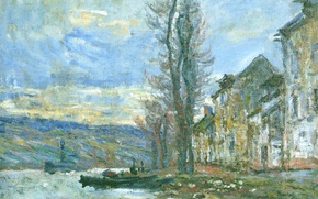 Wallpaper Hay in Lavacore. Winter, landscape, river, home, boat, picture, Claude Monet