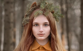 Picture bump, wreath, charm, Christmas trees, needles, the red-haired girl, Katie Melman