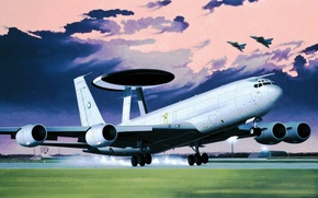 Picture art, airplane, painting, aviation, Boeing E-3 Sentry