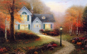 Picture autumn, light, smoke, picture, lantern, painting, cottage, Thomas kinkade, Kincaid