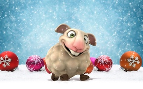 Picture balls, snow, animal, holiday, balls, toys, graphics, new year, symbol, sheep