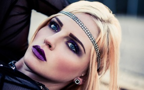 Picture girl, makeup, fashion, Gothic, Purple Makeup