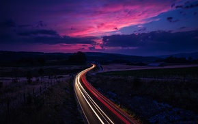 Picture road, the sky, clouds, sunset, clouds, movement, excerpt, Switzerland, twilight, blue, raspberry