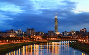 Picture the sky, light, clouds, city, the city, lights, lights, reflection, river, China, the evening, lights, ...