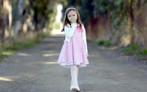 Picture look, wallpapers, children, road, bezel, face, Wallpaper, step, leaves, walking, bow, dress, girl, tape, mood, ...