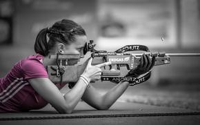 Wallpaper Pink Sniper, shooting, bokeh, girl