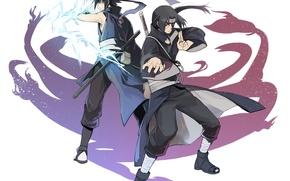 Picture naruto, art, brothers, Itachi Uchiha, Uchiha, Sasuke Uchiha