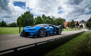 Wallpaper machine, the sky, trees, view, Bugatti, Vision, Bugatti, hypercar, Gran Turismo, aggressive