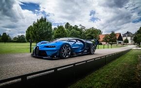 Wallpaper Bugatti, aggressive, Vision, trees, Gran Turismo, Bugatti, hypercar, view, machine, the sky