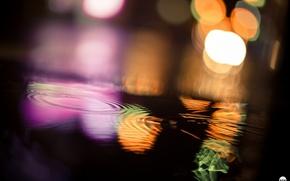 Picture water, macro, light, glare, bokeh