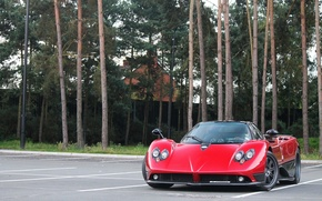 Picture trees, red, Parking, red, Pagani, Zonda, probe, Pagani, view sperie