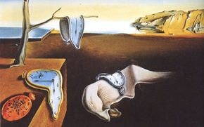Wallpaper time, surrealism, watch, oil, picture, artist, canvas, Salvador Dali, Salvador Dali, The persistence of memory, ...