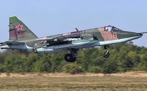 Picture Sukhoi, Frogfoot, Soviet/Russian armored subsonic attack aircraft, Su-25БМ, aircraft towing targets