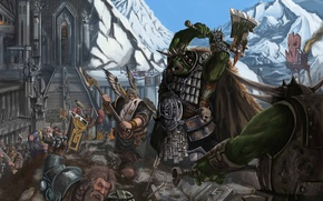 Wallpaper mountain, orcs, attack on karak azul, weapons, Battles, Thor, Fantasy, statues, warhammer, fortress, stage, dwarves, ...