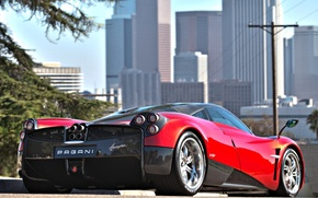 Picture Red, The city, Machine, City, Red, Pagani, Car, Car, Pagani, To huayr