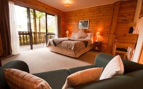 Picture rustic, interior, bedroom, wooden lodge