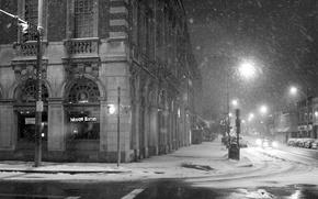 Picture street, Night, lantern, City, Snowy, Streets