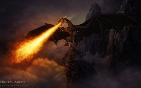 Picture rocks, fire, dragon, the dragon of hell