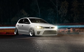 Picture volkswagen, light, white, wheels, style, tuning, polo, face, germany, low, stance, vag