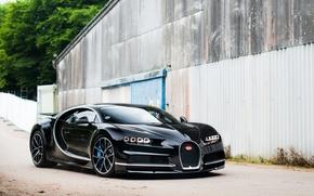 Picture Bugatti, Black, street, Chiron