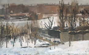 Picture winter, landscape, the city, picture, Georg Hendrik Breitner, View of the Eastern Park in Amsterdam …