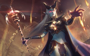 Wallpaper Amadea, Heroes of Newerth, Prophet of the Damned, MAG, art, girl, prophet, horns, hon