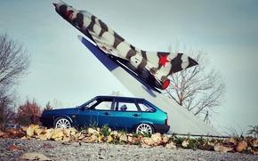Picture machine, auto, foliage, rocket, Lada, auto, Lada, 2109, VAZ, VAZ, VA-2109