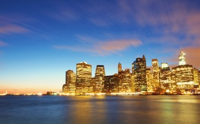 Picture Manhattan, skyscrapers, NYC, the city, lights, the evening, Wall Street, building, river, New York, New ...