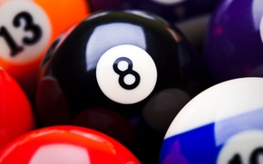 Picture colors, red, black, pool balls