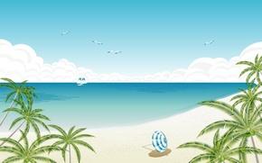 Picture beach, palm trees, umbrella, shore, Vector, yacht