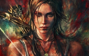 Picture girl, bow, art, arrows, lara croft, tomb raider, alicexz