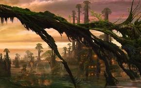 Picture water, trees, lights, dragon, swamp, being, art, hut, ucchiey, if kazama uchio