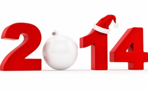 Picture new year, ball, white background, cap, date