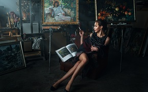 Picture girl, smoke, portrait, interior, dress, brunette, cigarette, shoes, pictures, legs, sexy, art, studio, Cape, beauty, …