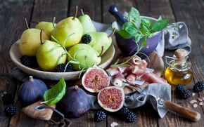 Picture berries, still life, pear, BlackBerry, figs, figs