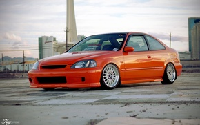 Picture photographer, honda, tuning, civic, orange, key chain