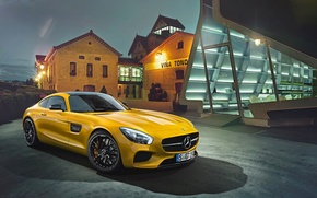 Picture Mercedes-Benz, House, Front, AMG, Yellow, Supercar, 2015