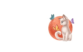 Picture cat, background, butterfly, art, children's